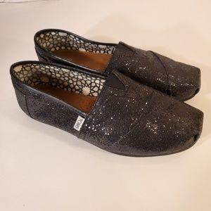 LIKE NEW Tom's black sparkle shoes